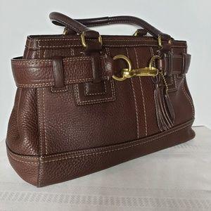 Vtg Coach Hampton Dark Brown Leather Satchel Purse